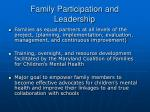 family participation and leadership