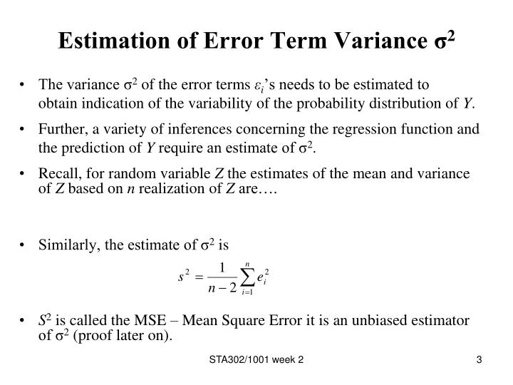Estimation of error term variance 2