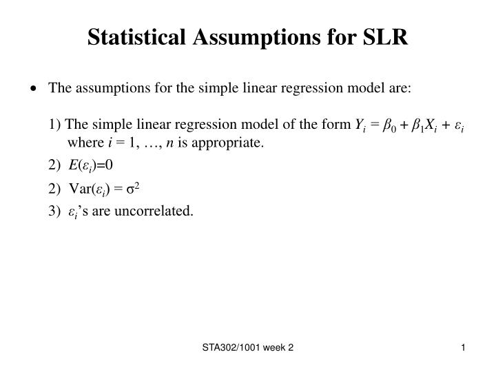Statistical assumptions for slr