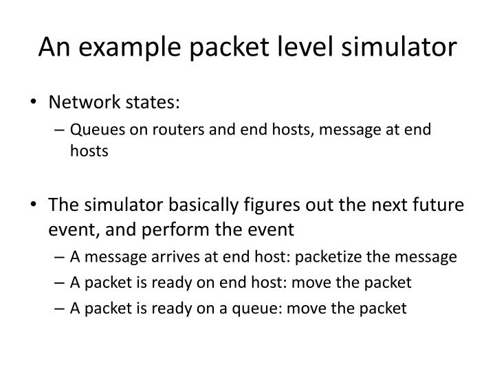 An example packet level simulator