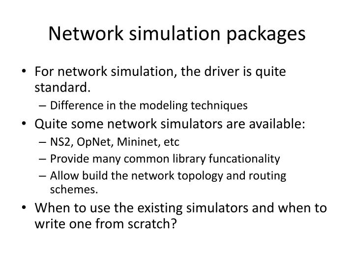 Network simulation packages