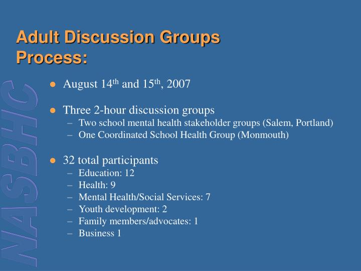 Adult Discussion Groups