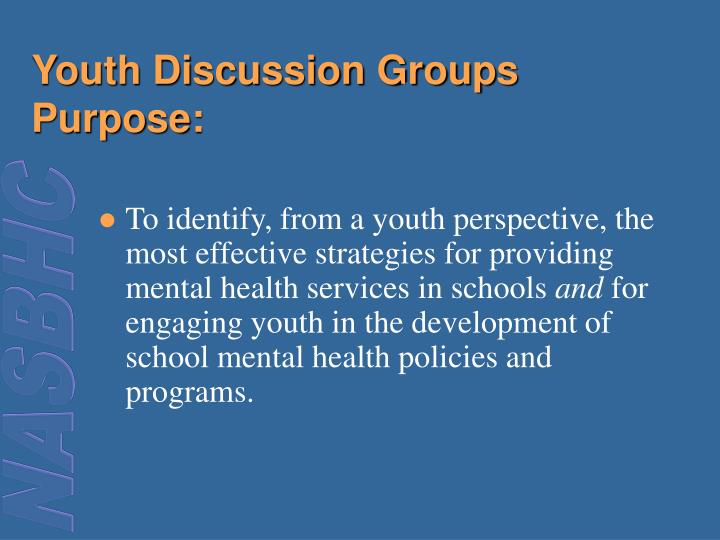 Youth Discussion Groups Purpose: