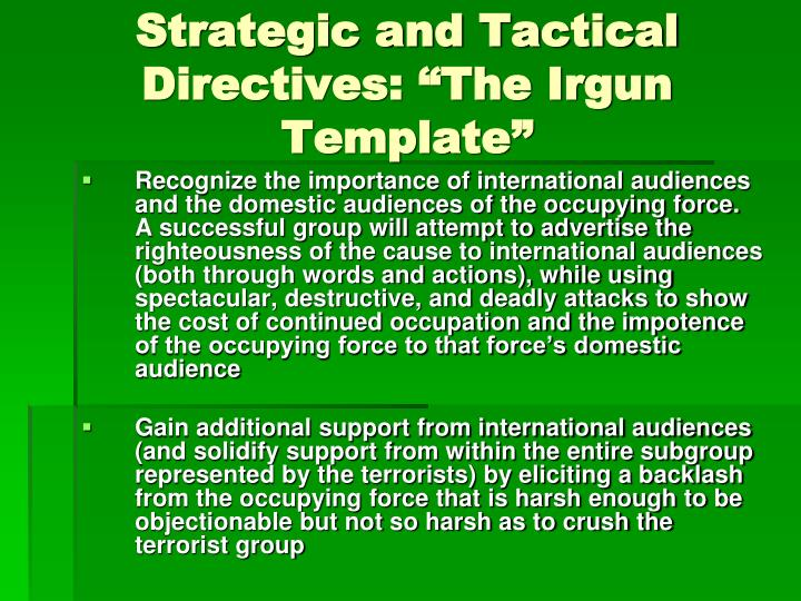 """Strategic and Tactical Directives: """"The Irgun Template"""""""