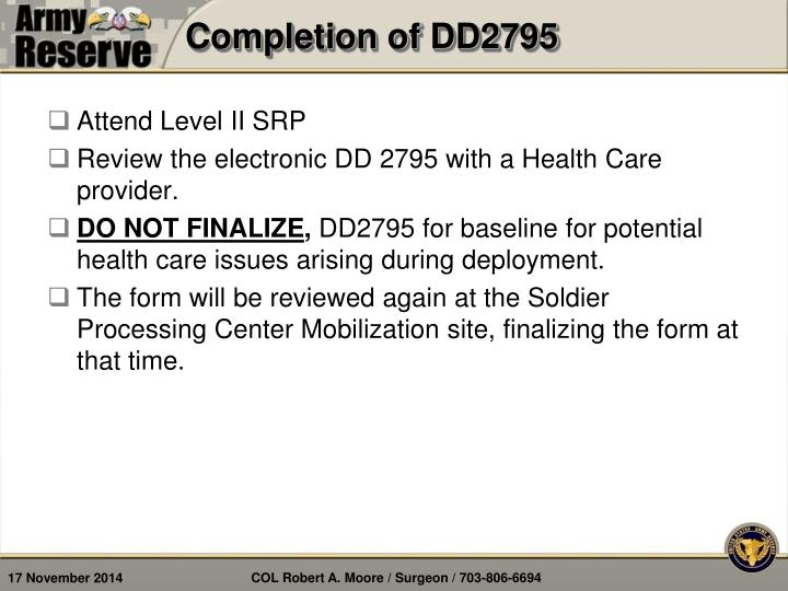 Completion of DD2795