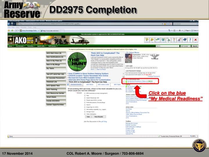 DD2975 Completion