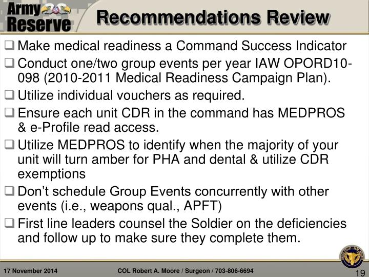 Recommendations Review