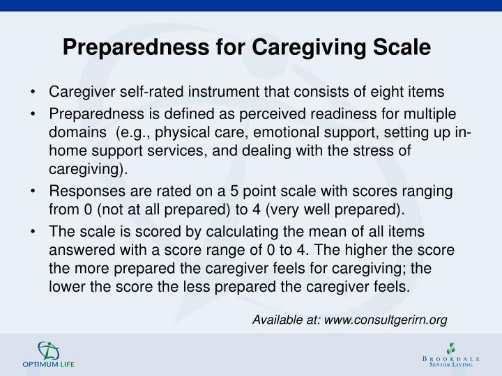 Preparedness for Caregiving Scale