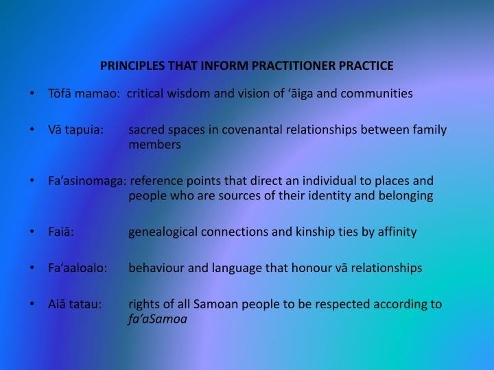 PRINCIPLES THAT INFORM PRACTITIONER PRACTICE