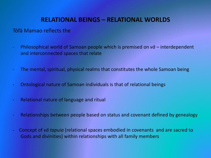 RELATIONAL BEINGS – RELATIONAL WORLDS