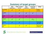 summary of target groups