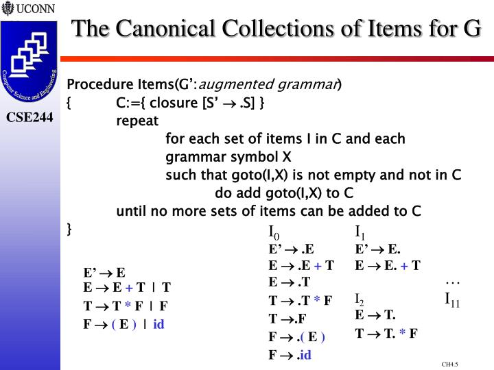 The Canonical Collections of Items for G