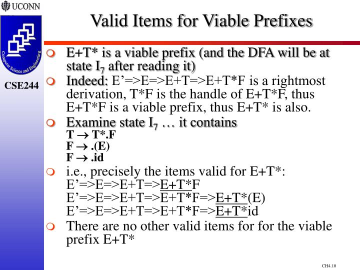 Valid Items for Viable Prefixes