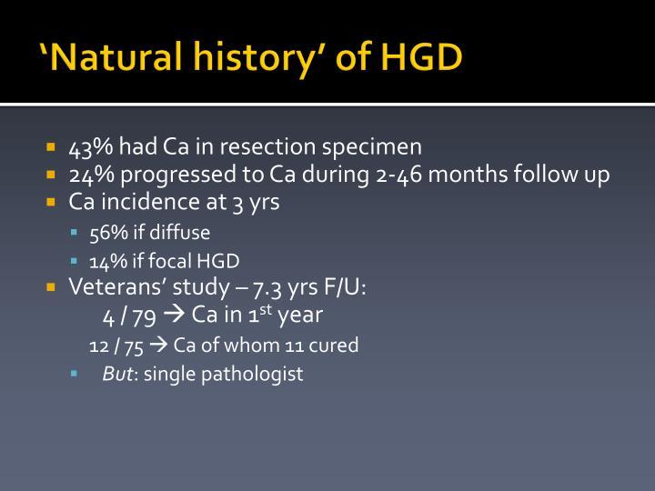 'Natural history' of HGD