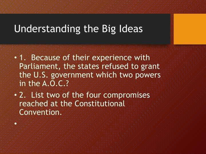 Understanding the Big Ideas