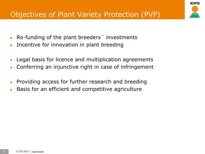 Objectives of Plant Variety Protection (PVP)