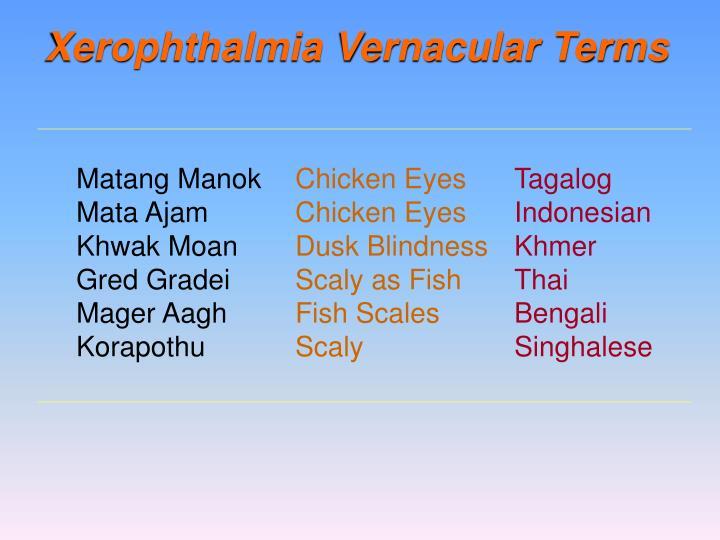 Xerophthalmia Vernacular Terms