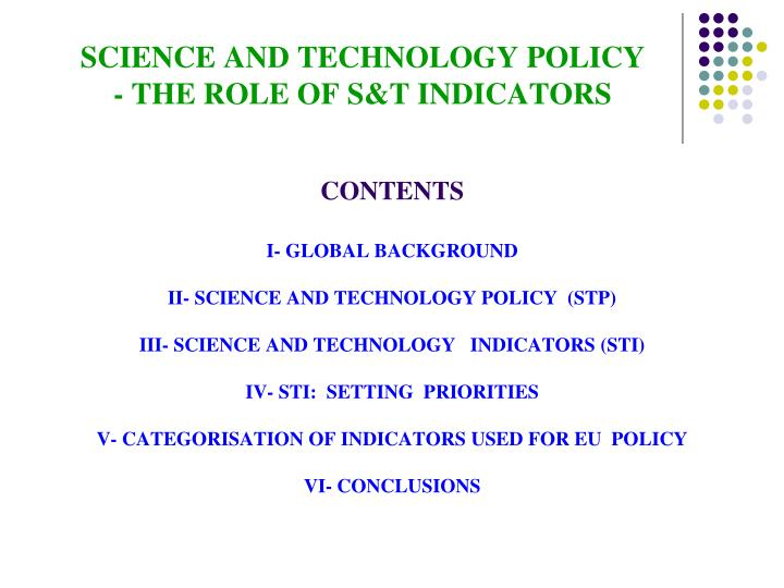 Science and technology policy the role of s t indicators1