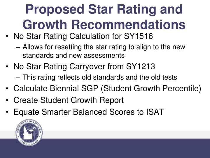 Proposed star rating and growth recommendations
