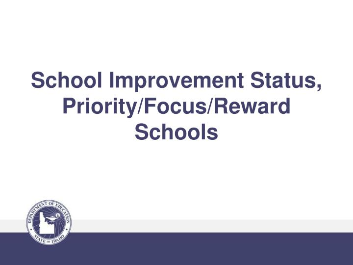 School Improvement Status, Priority/Focus/Reward Schools