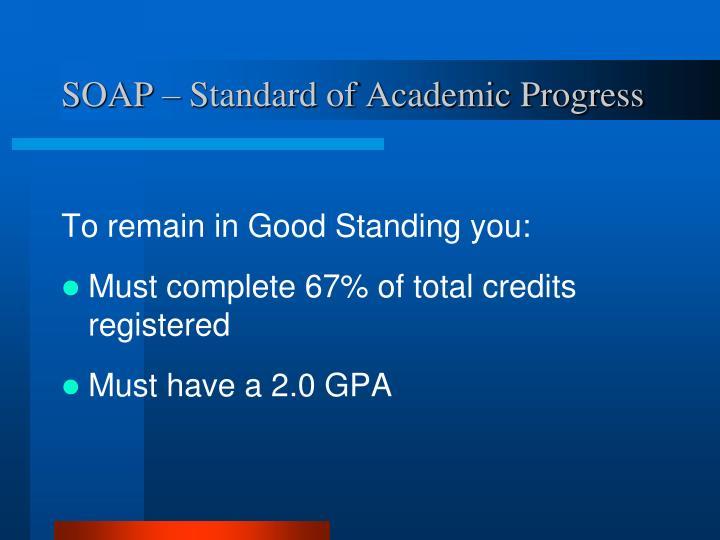 SOAP – Standard of Academic Progress