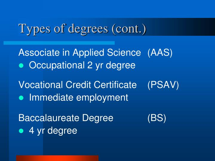 Types of degrees cont