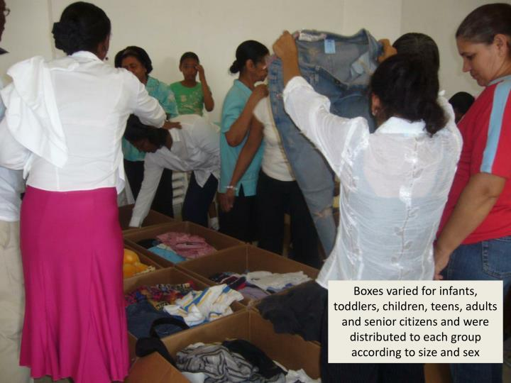 Boxes varied for infants, toddlers, children, teens, adults and senior citizens and were distributed to each group according to size and sex