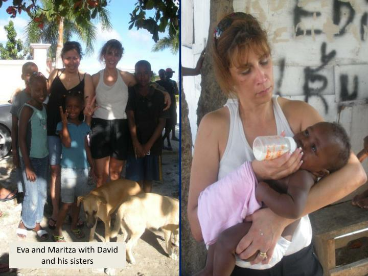 Eva and Maritza with David and his sisters