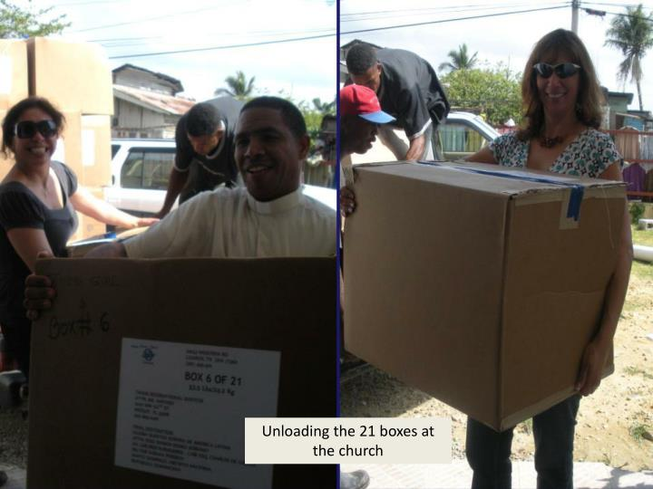 Unloading the 21 boxes at the church