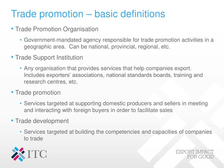 Trade promotion – basic definitions