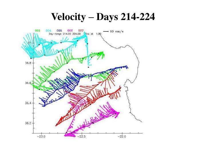 Velocity – Days 214-224