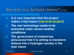 but why was iceland chosen cont