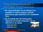 using hydrogen methanol vs fossil fuels overall emissions