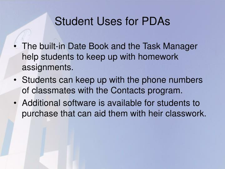 Student Uses for PDAs