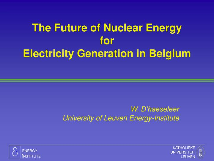 the future of nuclear energy for electricity generation in belgium