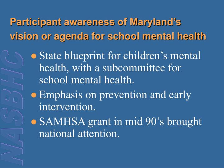 Participant awareness of Maryland's vision or agenda for school mental health