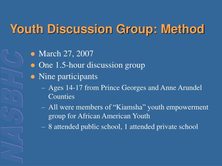 Youth Discussion Group: Method