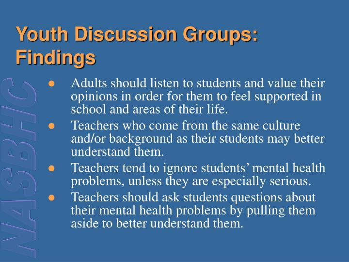 Youth Discussion Groups: Findings