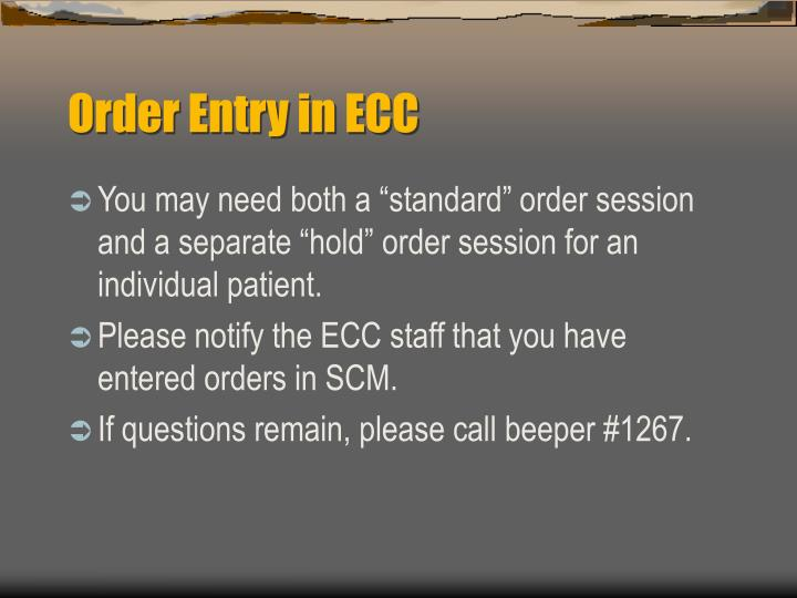 Order Entry in ECC