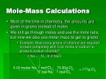 mole mass calculations