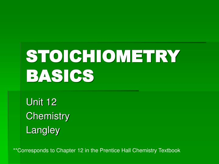 stoichiometry basics n.