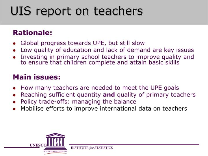 Uis report on teachers