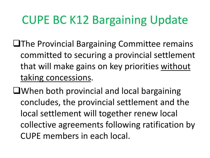 CUPE BC K12 Bargaining Update