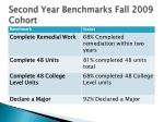 second year benchmarks fall 2009 cohort
