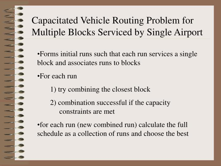 Capacitated Vehicle Routing Problem for Multiple Blocks Serviced by Single Airport