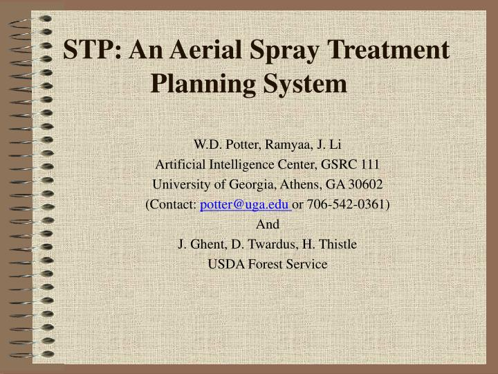Stp an aerial spray treatment planning system