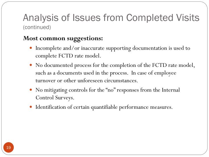 Analysis of Issues from Completed Visits