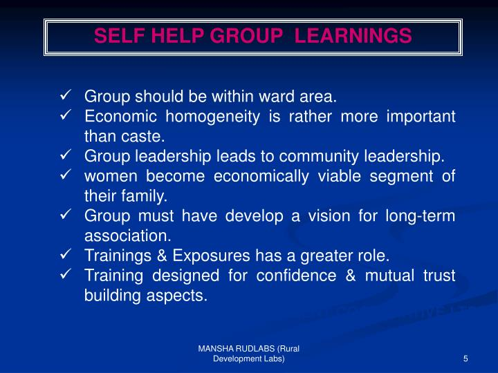 SELF HELP GROUP  LEARNINGS