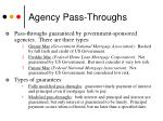 agency pass throughs