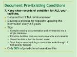 document pre existing conditions